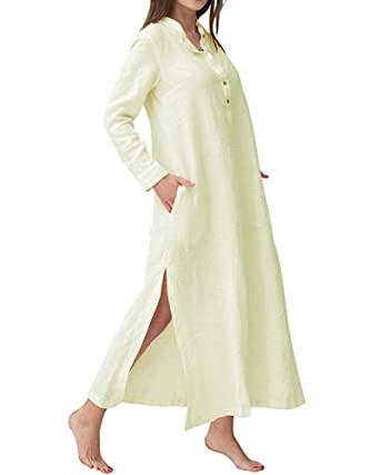a1a3d8b0888 YOUBENGA Women s Plus Size Long Sleeve Cotton Linen Split Kaftan Maxi Dress  Beige S