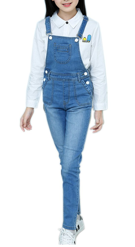 Sitmptol Girls Little Big Kids BF Long Jeans Cotton Denim Bib Overalls Light Blue Long