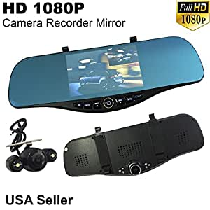 """Universal 5"""" Monitor 1080P Full HD Blue Tint Car Front/Backup Rear Camera Video Recorder Rearview DVR Cam Inside Mirror"""