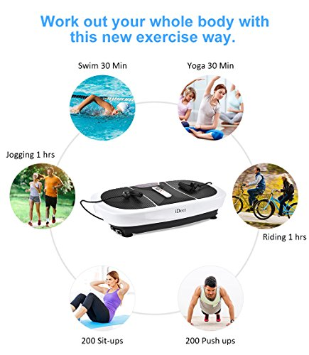 iDeer Vibration Platform Fitness Vibration Plates,Whole Body Vibration Exercise Machine w/Remote Control &Bands,Anti-Slip Fit Massage Workout Vibration Trainer Max User Weight 330lbs (White09007) by IDEER LIFE (Image #7)