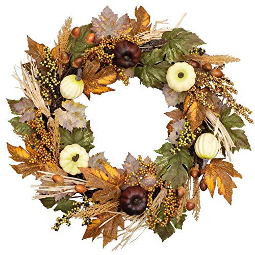 Valery Madelyn 24 inch Fall Wreath with Pumpkin, Pine Cone, Maple Leaves, Berry Clusters, Harvest Wreath for Front Door and Thanksgiving Decorations