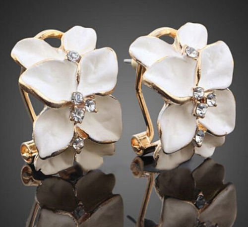 ERAWAN Fashion Women Gardenia Flower Crystal Ear Studs Rhinestone Hoop Buckle Earrings