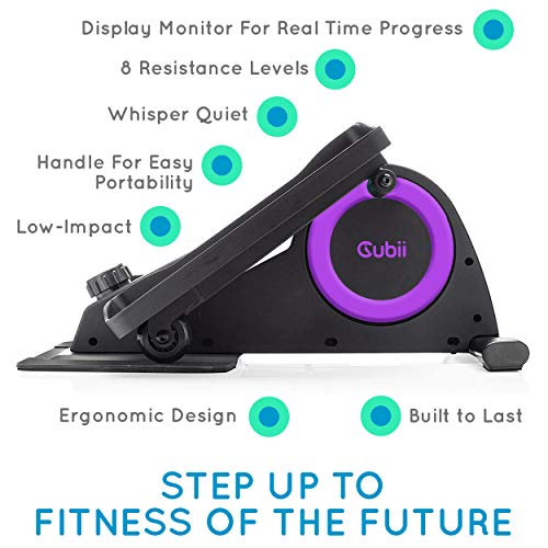 Cubii Jr: Desk Elliptical w/Built in Display Monitor, Easy Assembly, Quiet & Compact, Adjustable Resistance (Purple, One) by Cubii (Image #1)
