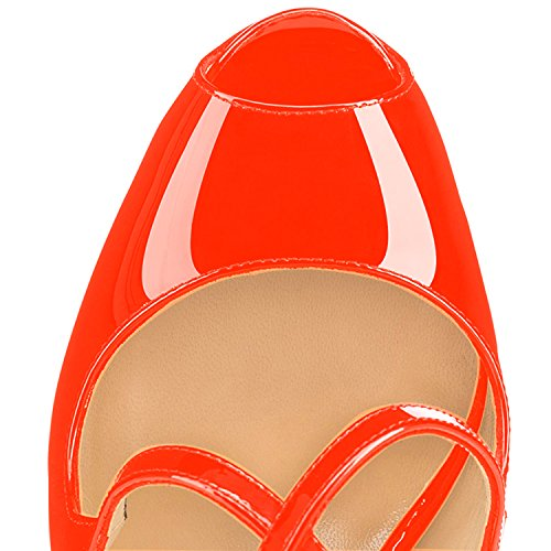 Strap Arancia Donna con elashe Classiche Criss 15CM col Scarpe Plateau Scarpe Scarpe Cross Toe Peep da Tacco fpqp7xaE