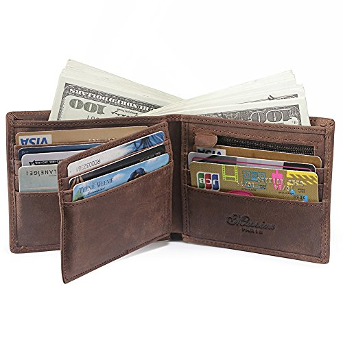 (Teemzone Cowhide Wallet for Men Bifold Pocket Wallet Credit Card Wallet with Zipper Coin Pocket)