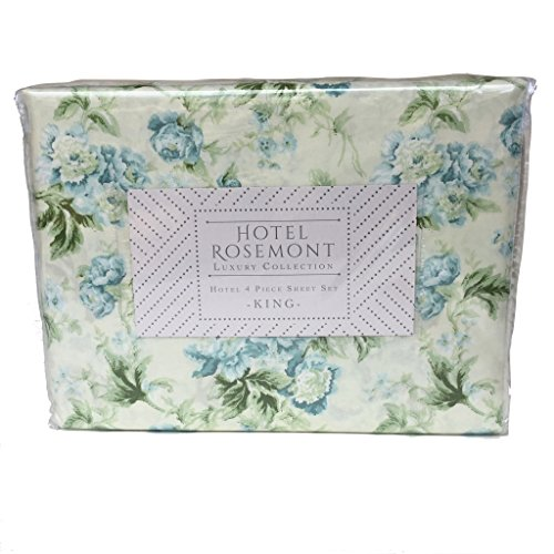 Hotel Rosemont Luxury Collection Sheet Set in Blue Vintage Floral with Botanical Leaves and Vines on Pale (Rosemont Collection)