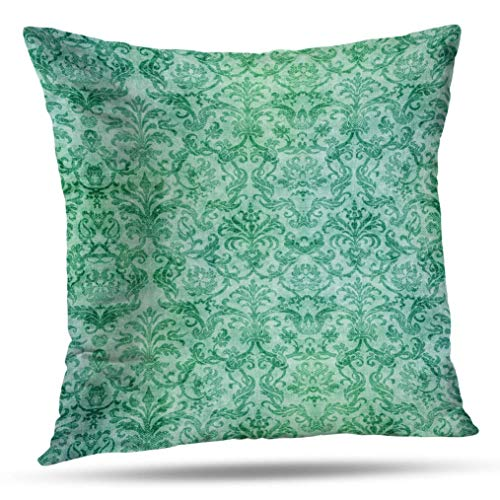Geericy Antique World Map Decorative Throw Pillow Covers, Damask Grunge Pattern Old Wallpaper Blue Aqua Teal Cushion Cover 18X18 Inch for Bedroom Sofa -