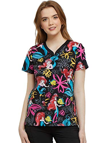 Tooniforms Cherokee by Women's V-Neck Ariel's Garden Print Scrub Top Small