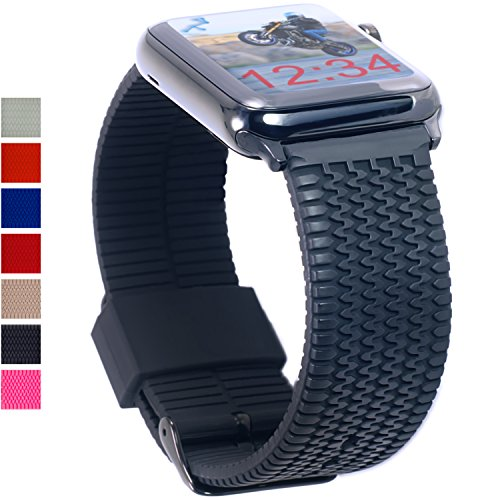 Cheap Smart Watch Bands Apple Watch Band 42mm Black TIRE TREAD Rubber iWatch Band- Silicone Sport..