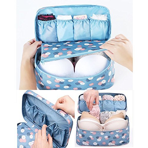 IDS Portable Protect Bra Underwear Organizer Bag Waterproof Travel Organizer Blue