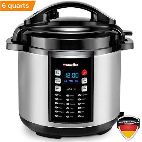 Mueller 10-in-1 Pro Series 19 Program 6Q Pressure Cooker with German ThermaV Tech, Cook 2 Dishes at Once, BONUS TEMPERED GLASS LID INCLUDED, Saute, Steamer, Slow, Rice, Yogurt, Cake, Maker, Sterilizer
