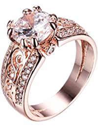 10 KT Rose Gold Ring, Two Rows of Small Diamonds, The Middle of a Big Stone