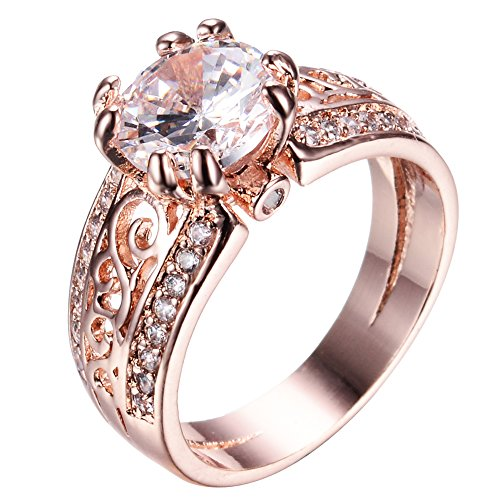 Junxin 10 KT Rose Gold plated Ring, Two Rows of Small Birthday Stone, The Middle of a Big Stone(5) (Cz Five Stone Ring)