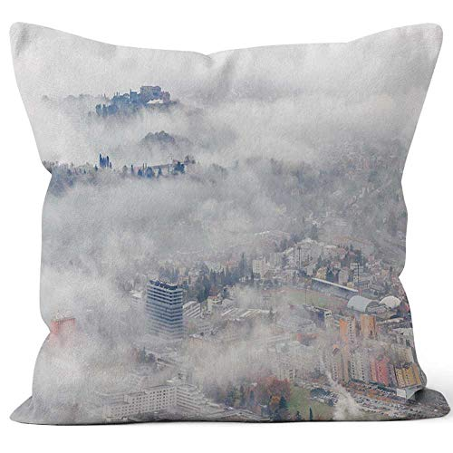 Autumn Misty View of The City of Nova Gorica Throw Pillow Cushion Cover,HD Printing Decorative Square Accent Pillow Case,24