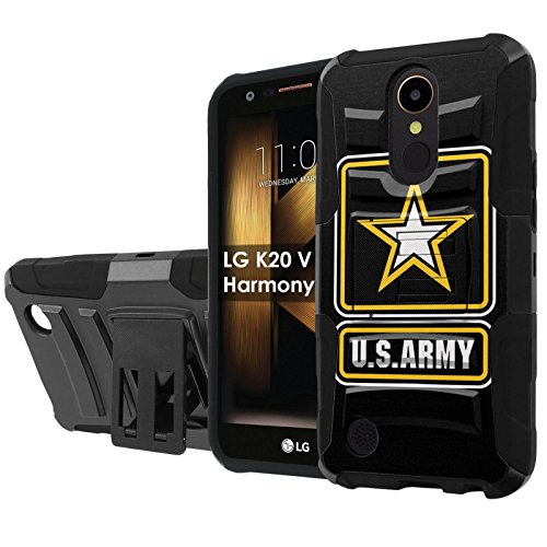 "LG [K20 V/K20 plus] LG Harmony [NakedShield] [Black/Black] Defender Combat Armor Case [KickStand] [Holster] – [Army] for LG [K20 V/K20 plus/Harmony] [5.3 "" Screen]"