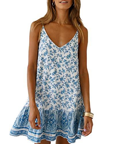 Imily Bela Womens Polka Dot Sleeveless Mini Tank Dress Strappy A Line Summer Sexy Beach Sundresses (XX-Large, X-Sky Blue)
