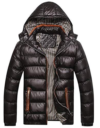 Men's Warm Waterproof Down Alternative Jacket Hood Winter Outwear Comfortable Sizes Coat Long Sleeve Hooded Ultralight Down Jacket Quilted Coat Clothing Black