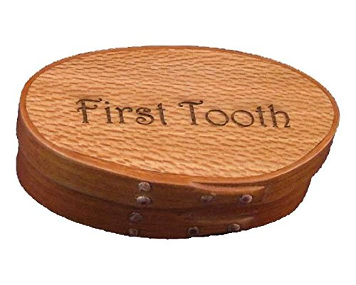(Shaker Memories First Tooth Box Small with Cherry Bands and American Lacewood Top; Lacquer)