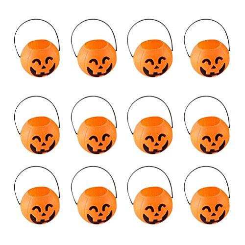 BESTOYARD 7cm Halloween Pumpkin Bucket Trick or Treat Pumpkin Candy Pail Holder Jar Mini Candy Goody Bag Buckets 12 PCS -