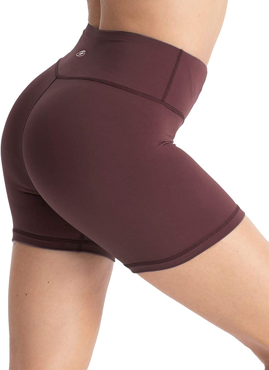 Hopgo Womens 4 Training Bike Shorts High Waist Worktout Shorts Tummy Control Yoga Shorts Tight Inner Pocket