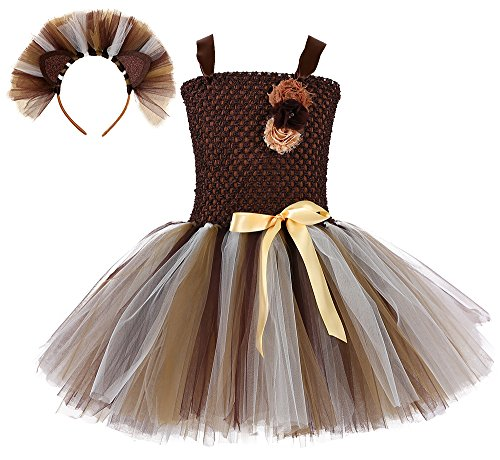 (Tutu Dreams Halloween Lion Animal Costumes Kids Girls Brown Tutu Dress Carnival Recital Party (Ringmaster,Lion,Horse,Peacock Dress Up) (Lion,)