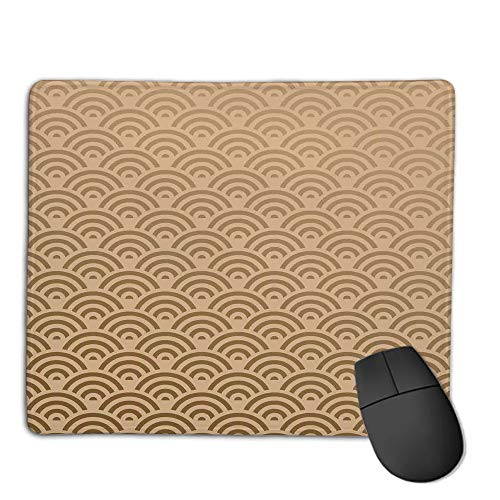 Mouse Pad pad Customized Rectangle Non-Slip Rubber Mousepad,Beige,Oriental Wave Design Contemporary Illustration of Old Royal Pattern Artwork Print Decorative,French Beige,Consoles More Enjoy Precis ()