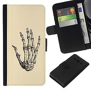 EJOY---La carpeta del tirón la caja de cuero de alta calidad de la PU Caso protector / Samsung Galaxy A3 / --Los huesos de la mano del cráneo de Death Metal Amarillo