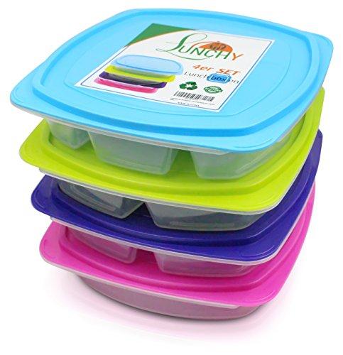 Lunchbox Set 4 Stück Bento Box Brotzeitbox Kinder auslaufsicher Brotzeitdose Kinder Meal-Prep Boxen Lunch Box mit 4 Fächern mit Trennwand für Kinder und Erwachsene von LUNCHY