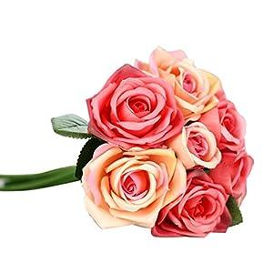 YRD TECH 9 Heads Artificial Silk Fake Flowers Leaf Rose Wedding Floral Decor Bouquet (Watermelon Red) 75
