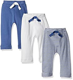 Touched by Nature Baby Organic Cotton Pants 3-Pack, Blue/Cream, 9-12 Months