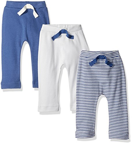Touched by Nature Baby Organic Cotton Pants 3-Pack, Blue/Cream, 0-3 Months