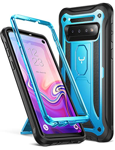 YOUMAKER Kickstand Case for Galaxy S10, Heavy Duty Protection Shockproof Full Body Slim Fit Without Built-in Screen Protector Case Cover for Samsung Galaxy S10 6.1 inch (2019 Release) - Blue