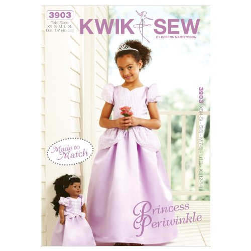 Kwik Sew K3903 Princess Periwinkle Girls and Doll Made to Match Dresses Sewing Pattern, Size XS-S-M-L-XL, Doll: 18-Inch