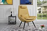 Modern Contemporary Linen Fabric Living Room Accent Chair (Yellow)