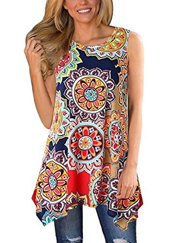 (Luranee Womens Summer Sleeveless Tunics Loose Pleated Tops with Handkerchief Hem (Small, Geometric Flower))