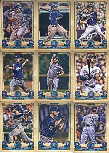 2019 Gypsy Queen Baseball Milwaukee Brewers Team Set of 10 Cards: Jesus Aguilar(#2), Christian Yelich(#99), Lorenzo Cain(#136), Brandon Woodruff(#151), Travis Shaw(#169), Ryan Braun(#172), Corbin Burnes(#191), Jeremy Jeffress(#194), Josh Hader(#204), Orlando Arcia(#252)
