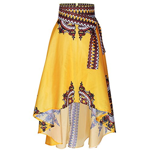S-XL Women Long Skirt African Fashion Printing Short Front Long Tail Umbrella Shape Bust Skirt