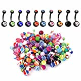 BodyJ4You 60PC Belly Button Ring Set 14G Mix CZ Black Steel Acrylic Banana Body Piercing Jewelry