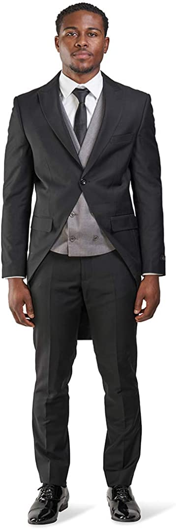 1920s Men's Suits History Slim fit 1 Button Peak Lapel 3 Piece Tuxedo Tail Coat Vest Pants $99.00 AT vintagedancer.com