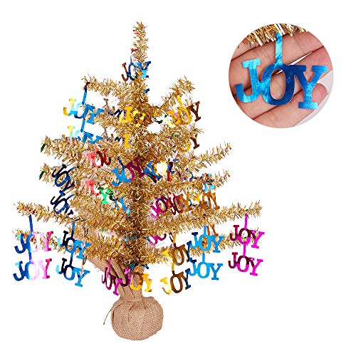 Joy-Leo Shiny Joy Tabletop Gold Christmas Tree with Reflective Sequins, 1 Foot Gold Tinsel Tree for Christmas Decoration with Burlap Stand