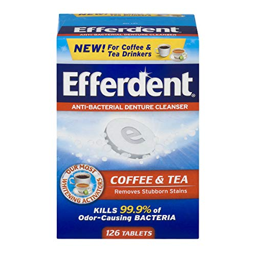 Efferdent Denture Cleanser Tablets, Coffee & Tea, 126 Count