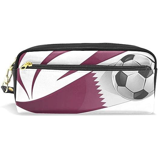 G.H.Y Estuche de lápices Bolsa de Bandera de Qatar con balón de ...