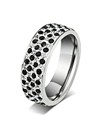 AmDxD Jewelry Stainless Steel Women Engagement Rings(Wedding Bands) Round of CZ,Free Lettering