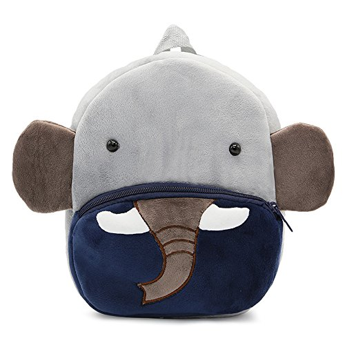 White Dolphin Cute Toddler Backpack,Cartoon Cute Animal Plush Backpack Toddler Mini School Bag for Kids Age 1-5 Years Old (elephant), Small]()