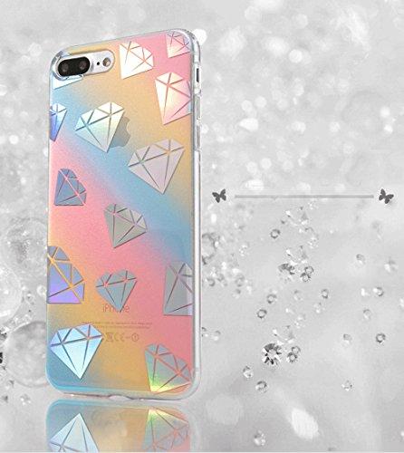 Vandot para iPhone 7 Plus/ iPhone 8Plus Ultra Thin Smart Cover 360 ° Grados Carcasa Delantera y Trasera Cristal Full Body Funda Protectora de TPU Dos Piezas Transparente Cubierta de la Caja del parach JBDDTPU 01