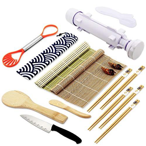(Sushi Making Kits - All In One Sushi Roll Bazooka Maker with 2 Bamboo Mats, 5 Pairs Bamboo Chopsticks, Sushi Paddle, Spreader, Sushi Knife, Chopstick Holder, Handle Onigiri Mold and)