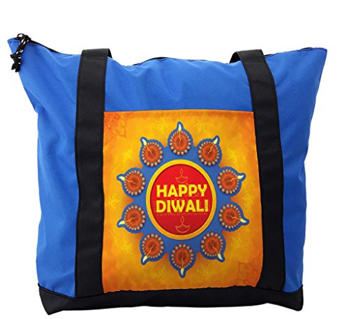 Lunarable Diwali Shoulder Bag, Warm Colored Celebration, Durable with Zipper by Lunarable