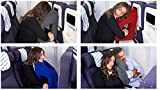 Travel Nap Inflatable Travel Pillow Bundle With Eye Mask And Ear Plugs 3 in 1 set (Black) Great For All Travel.