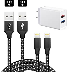 JellyShark Lightning Cable 2-Pack 3 FT USB Cable With 1-Pack Dual Port 5V/2.4A Charging Plug Home Travel Power Wall Charger Adapter Plug For iPhone 8/7/7 plus/6/6s Plus/5/5S/iPad/iPod and More