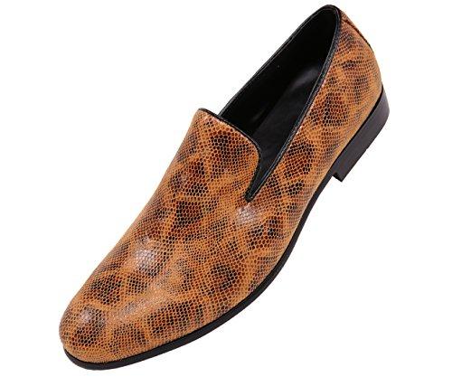 Amali Mens Multi-Colored Snake Print Smoking Slipper, Nightclub Slip-On Loafer Dress Shoe, Style Smith Tan